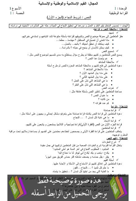 جذاذات القراءة للمفيد في اللغة العربية – الرابع ابتدائي