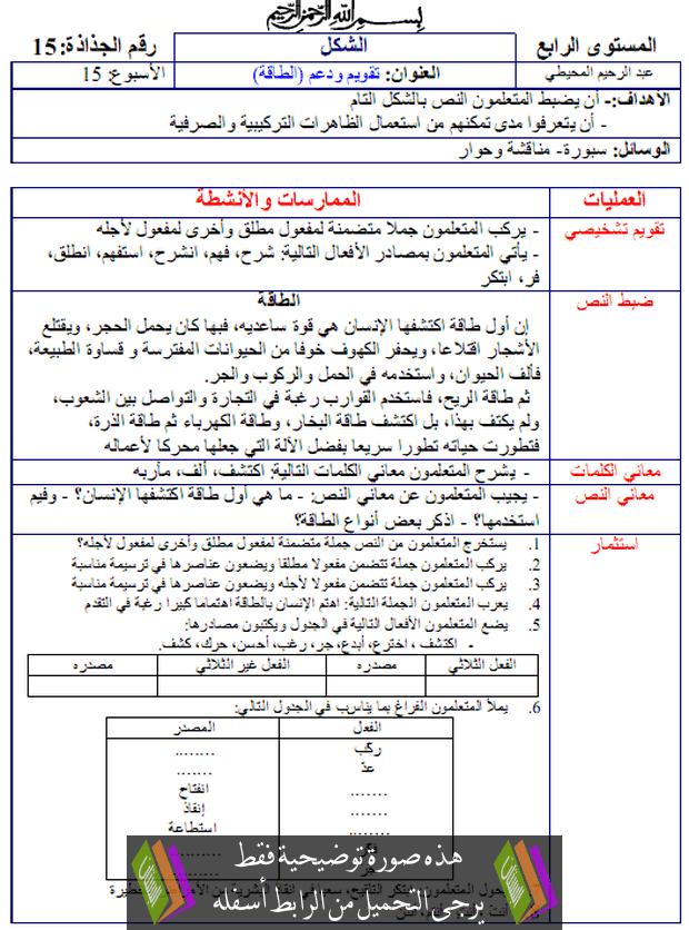 جدادات الشكل المرجع الواضح في اللغة العربية – الرابع ابتدائي