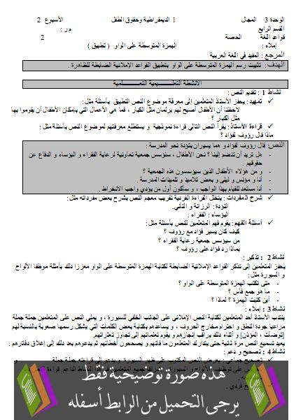 جذاذات الإتشاء والإملاء للمفيد في اللغة العربية – الرابع ابتدائي