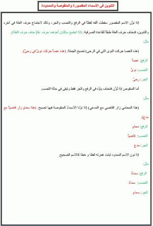 درس الإملاء: التنوين في الأسماء المقصورة والمنقوصة والممدودة – الخامس ابتدائي