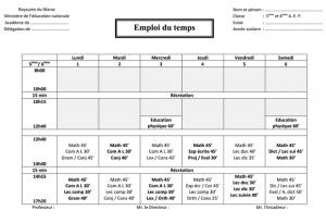 نموذج لاستعمال الزمن للمستويين الخامس والسادس من التعليم الابتدائي فرنسية مزدوج