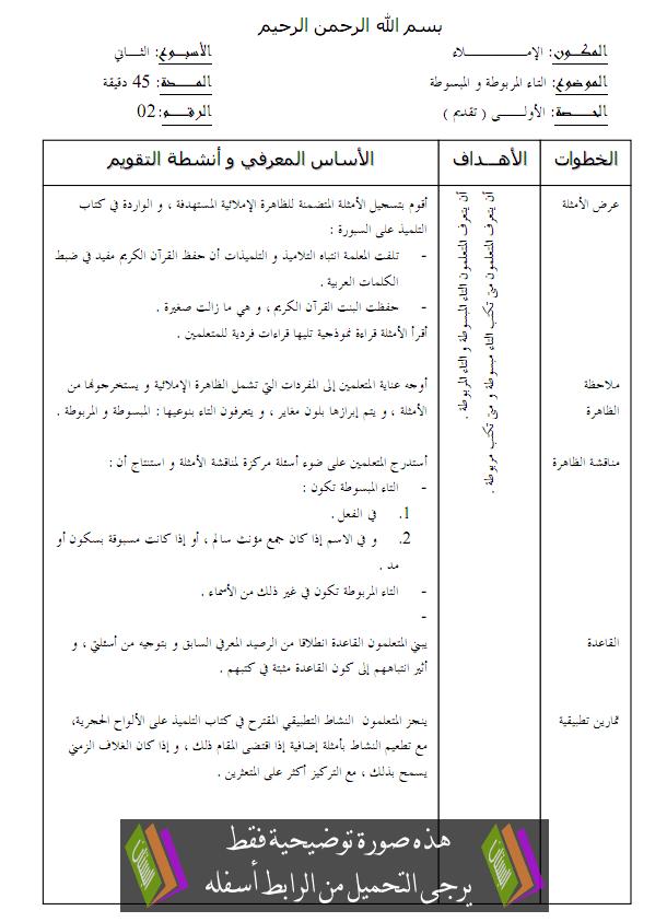جذاذات الإملاء للجديد في اللغة العربية – الرابع ابتدائي