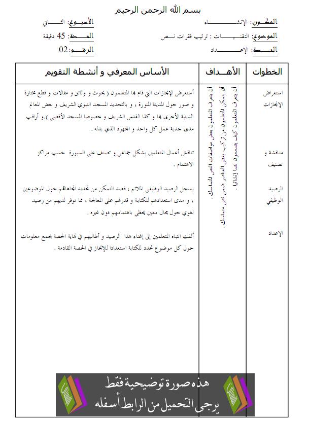 جذاذات الإنشاء للجديد في اللغة العربية – الرابع ابتدائي