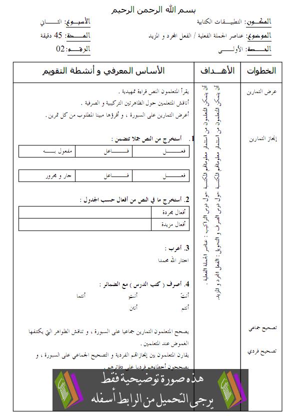 جذاذات التطبيقات الكتابية للجديد في اللغة العربية – الرابع ابتدائي