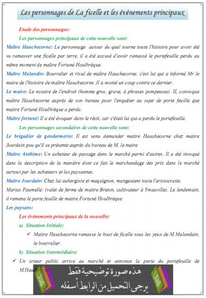درس Les personnages de La ficelle et les événements principaux - اللغة الفرنسية - جذع مشترك