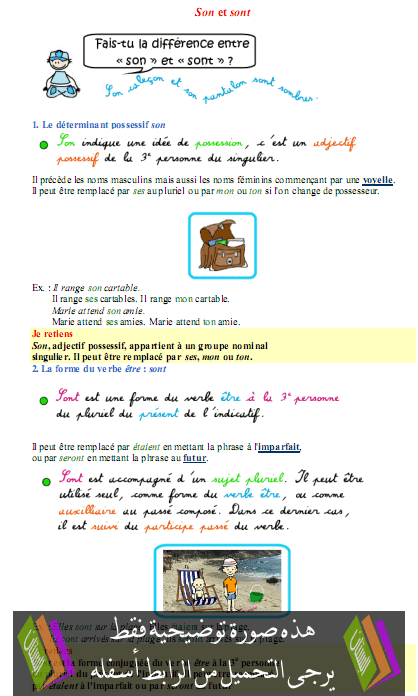 درس مادة الفرنسية Son et sont  –  الخامس ابتدائي