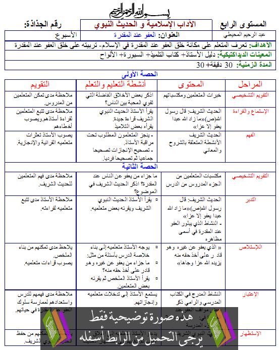 جذاذات الآداب والحديث واحة التربية الإسلامية – الرابع ابتدائي