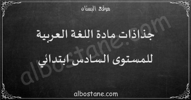 جذاذات مادة اللغة العربية للمستوى السادس ابتدائي