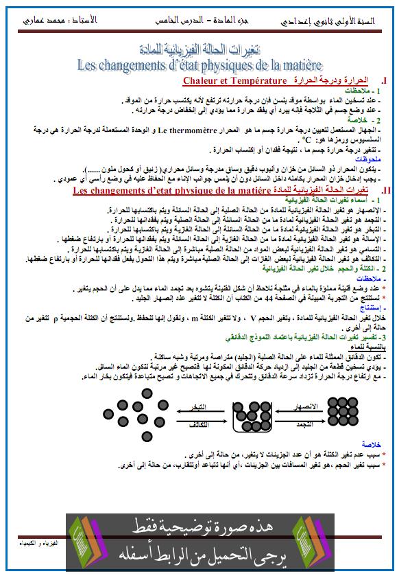 درس تغيرات الحالة الفيزيائية للمادة - الأولى إعدادي