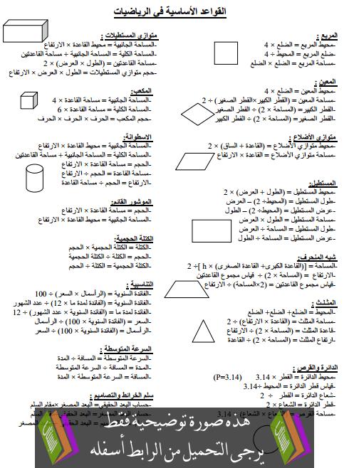 القواعد الأساسية في الرياضيات - السادس ابتدائي