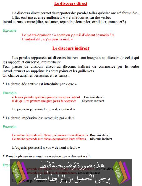 درس Le discours direct – السادس ابتدائي