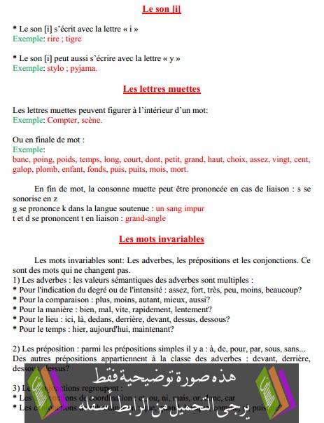 درس - Le son - i  – السادس ابتدائي
