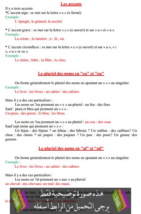 درس Les accents – السادس ابتدائي
