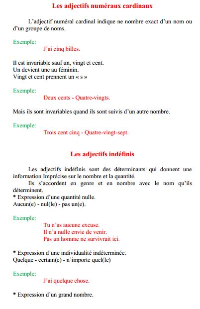 درس Les adjectifs numéraux cardinaux – السادس ابتدائي