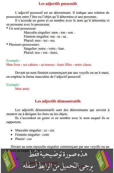 درس Les adjectifs possessifs – السادس ابتدائي