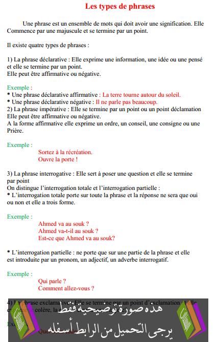 درس Les types de phrases – السادس ابتدائي