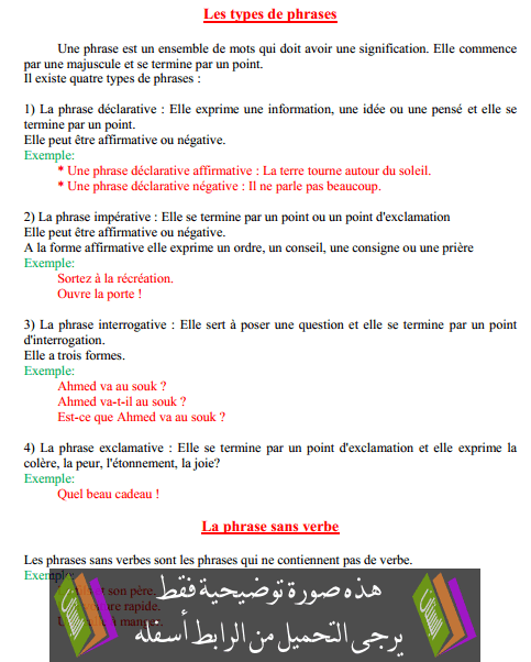درس Les types de phrases – الخامس ابتدائي