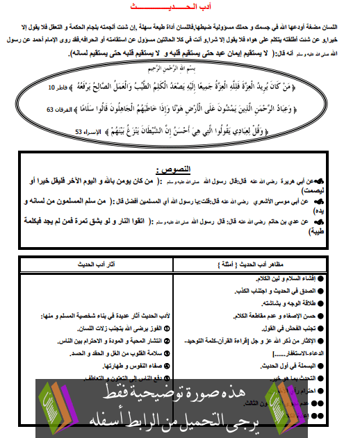 درس التربية الإسلامية: آداب الحديث - السادس ابتدائي