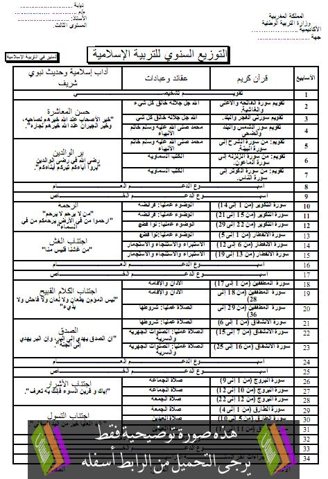 التوزيع  السنوي  للمنير في التربية الإسلامية – الثالث ابتدائي