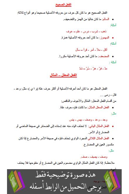 درس اللغة العربية: الفعل الصحيح - الفعل المعتل – المثال – السادس ابتدائي