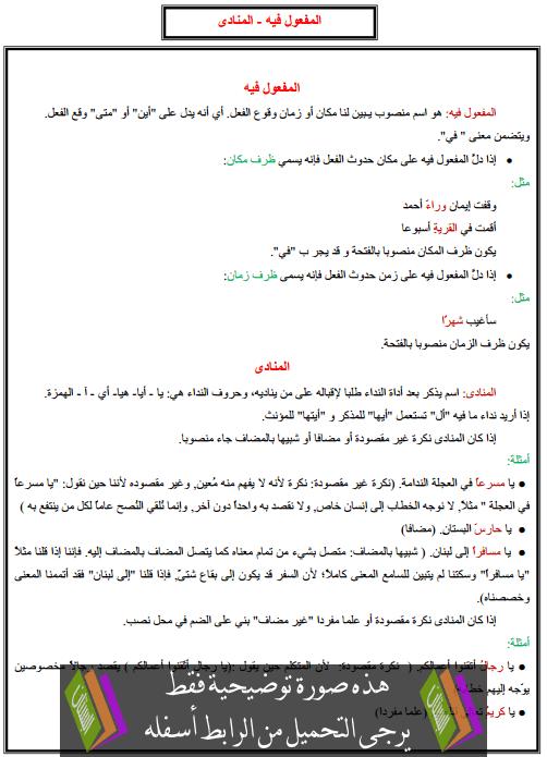 درس التراكيب: المفعول فيه - المنادى – الخامس ابتدائي
