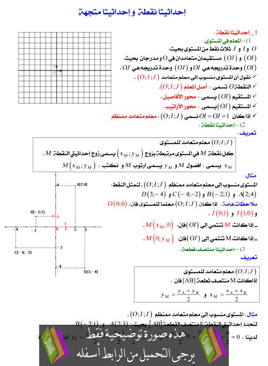 درس إحداثيتا نقطة وإحداثيتا متجهة للسنة الثالثة إعدادي