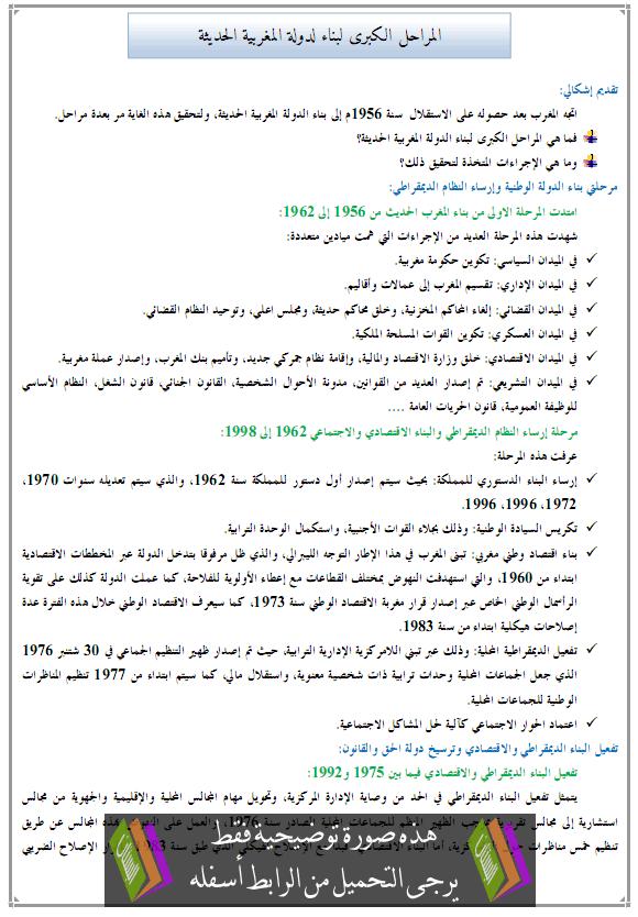 درس التاريخ: المراحل الكبرى لبناء لدولة المغربية الحديثة - الثالثة إعدادي