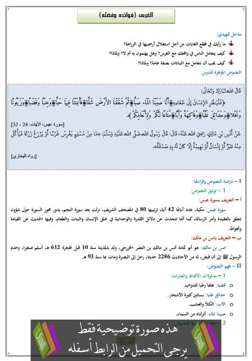 درس الغرس (فوائده وفضله) الأولى إعدادي في التربية الإسلامية
