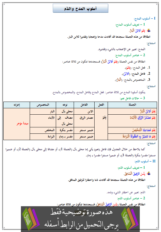 درس أسلوب المدح والذم الثالثة إعدادي (اللغة العربية)