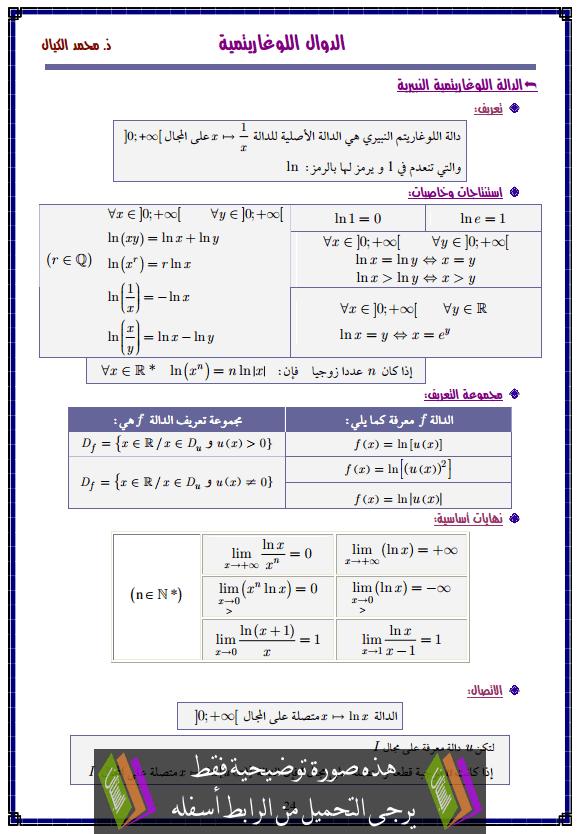 درس الدوال اللوغاريتمية – الثانية باكالوريا علوم تدبير محاسباتي