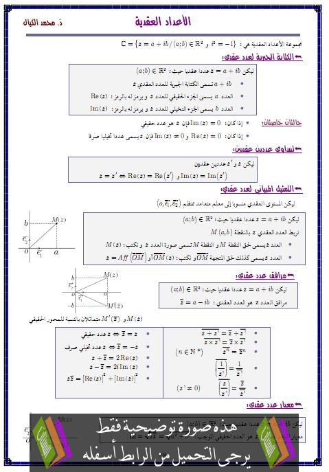 درس الأعداد العقدية – الثانية باكالوريا علوم تدبير محاسباتي