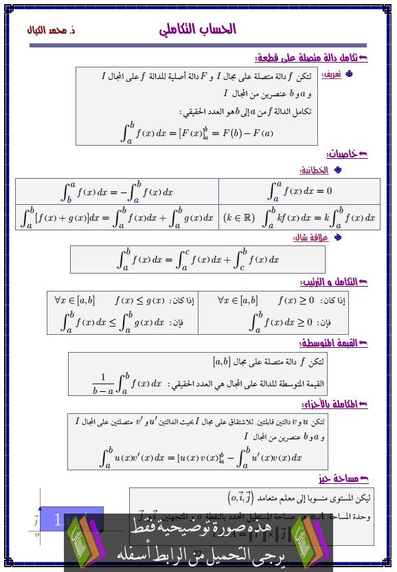 درس الحساب التكاملي – الثانية باكالوريا علوم تدبير محاسباتي