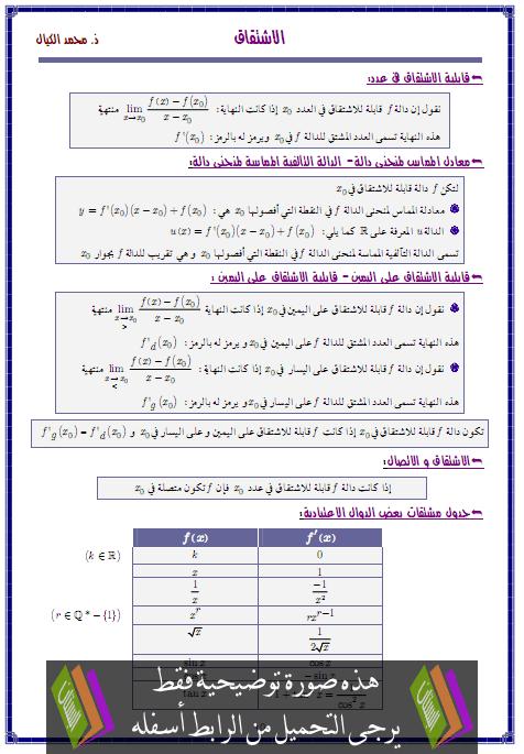 درس الاشتقاق – الثانية باكالوريا علوم التدبير المحاسباتي