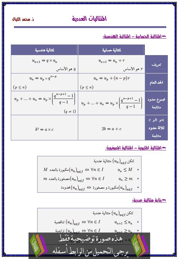 درس المتتاليات العددية – الثانية باكالوريا علوم التدبير المحاسباتي