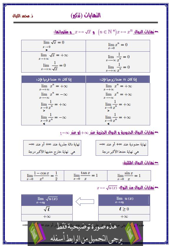 درس النهايات – الثانية باكالوريا علوم التدبير المحاسباتي