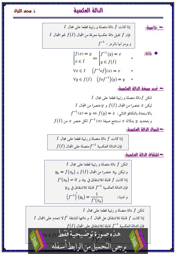 درس الدالة العكسية – الثانية باكالوريا علوم التدبير المحاسباتي