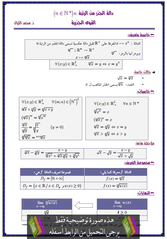 درس دالة الجذر من الرتبة n – الثانية باكالوريا علوم التدبير المحاسباتي