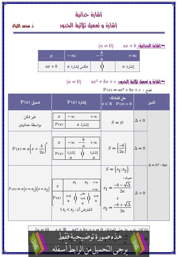 درس إشارة حدانية- إشارة وتعميل ثلاثية الحدود – الثانية بكالوريا علوم التدبير المحاسباتي