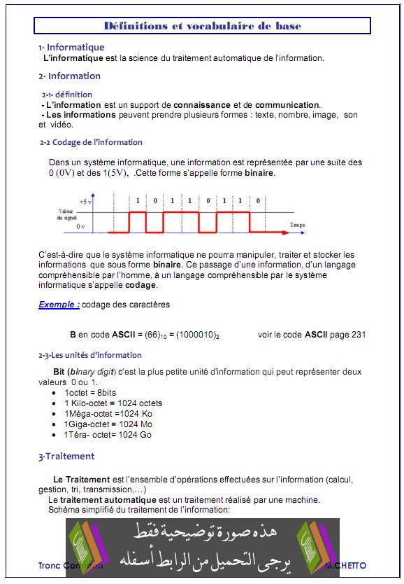 درس Définitions et vocabulaires de base - المعلوميات - جذع مشترك