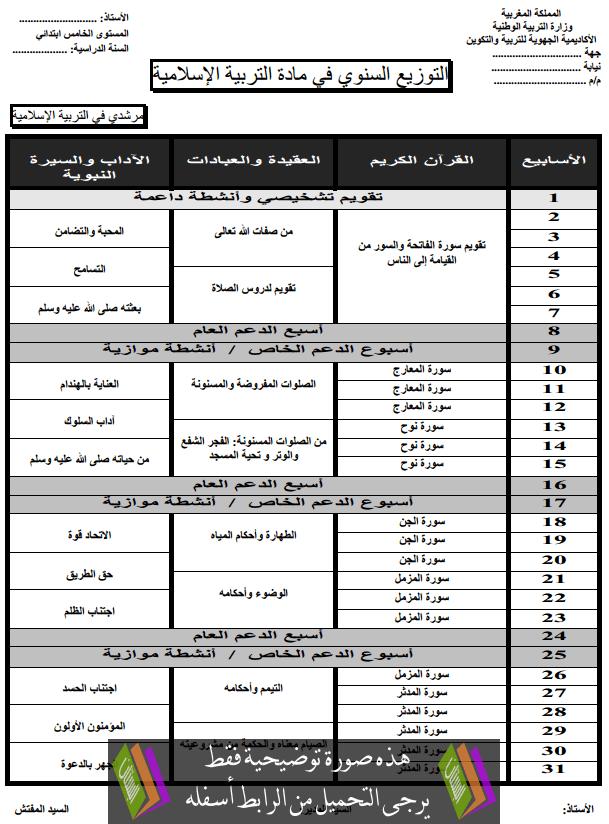 التوزيع السنوي لمرشدي في التربية الإسلامية – الخامس ابتدائي