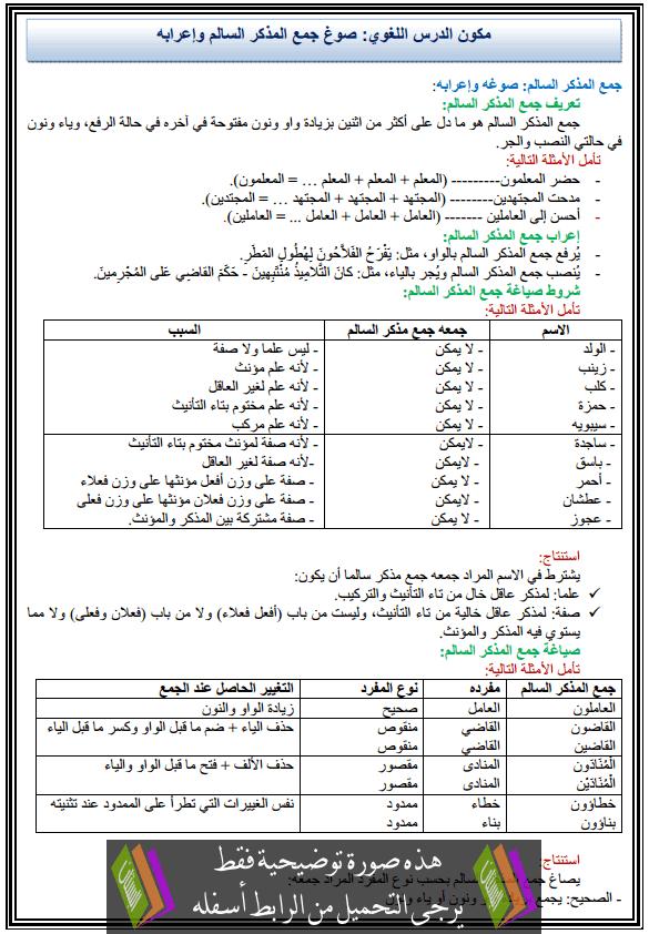 درس اللغة العربية: مكون الدرس اللغوي - صوغ جمع المذكر السالم وإعرابه - الثانية إعدادي