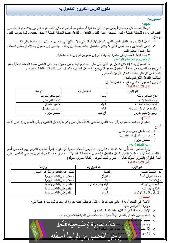 درس اللغة العربية: مكون الدرس اللغوي - المفعول به - الثانية إعدادي