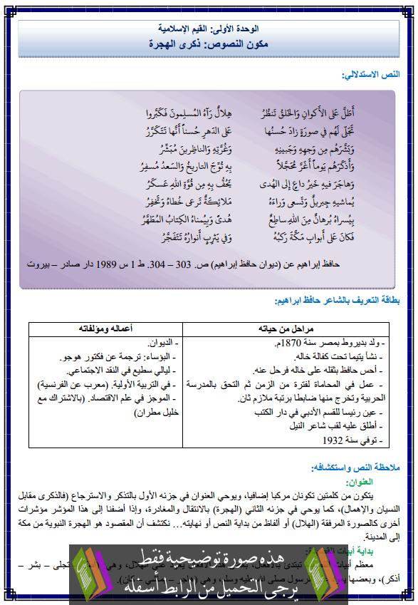 درس اللغة العربية: مكون النصوص القرائية: ذكرى الهجرة - الثانية إعدادي