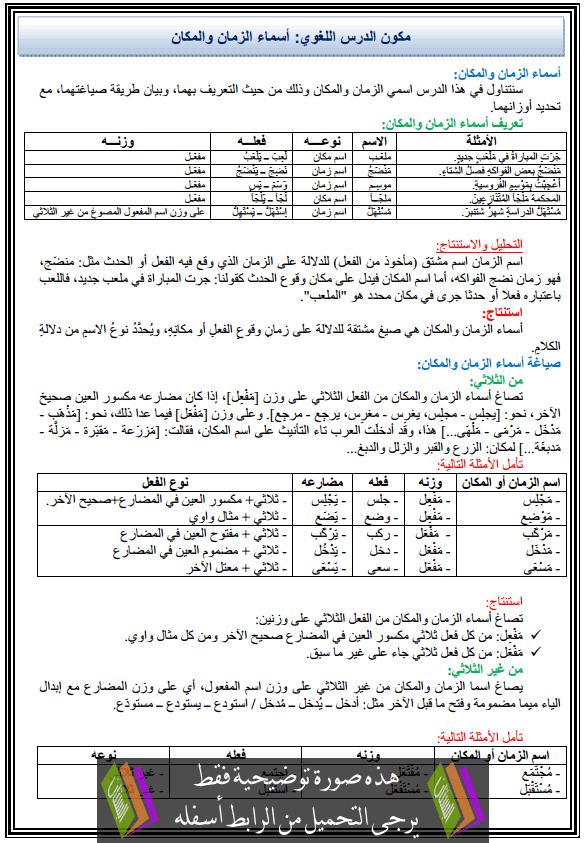 درس اللغة العربية: مكون الدرس اللغوي - أسماء الزمان والمكان - الثالثة إعدادي