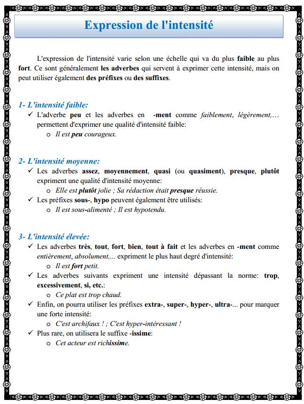 درس اللغة الفرنسية: Expression de l'intensité - االثانية إعدادي