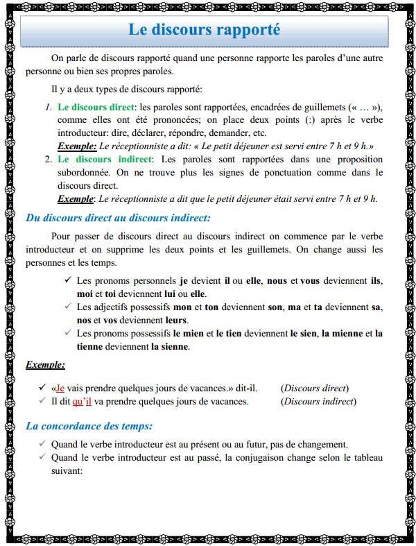 درس اللغة الفرنسية: Le discours rapporté - االثانية إعدادي