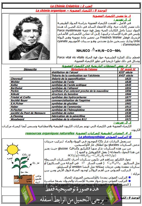 درس توسع الكيمياء العضوية للسنة الأولى باكالوريا علوم