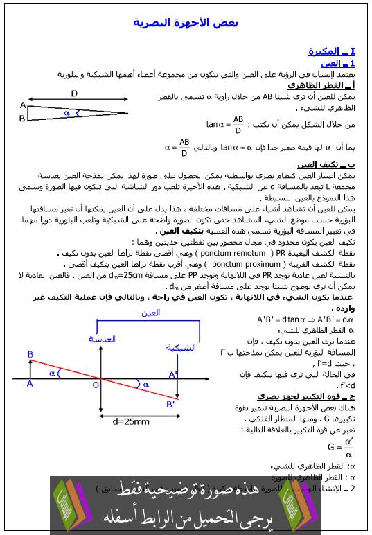 درس الفيزياء: بعض الأجهزة البصرية – الاولى بكالوريا علوم تجريبية وعلوم رياضية