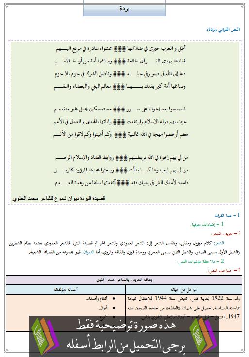 تحضير النص القرائي بردة للأولى إعدادي (اللغة العربية)