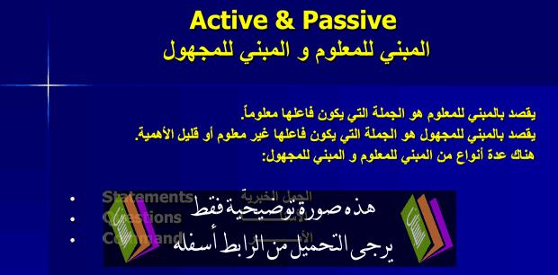 درس اللغة الإنجليزية: Active-Passive - جذع مشترك اداب وعلوم انسانية – جذع مشترك آداب وعلوم إنسانية